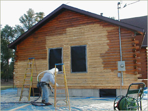 Log home maintenance log home restoration log home for How to stain log cabin