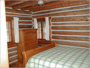 Chinking on the interior of a log home