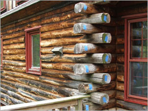 Log Home Repair - Before
